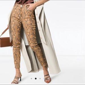 FRAME Le High Skinny Crop Coated Python Jeans